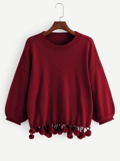 Lantern Sleeve Pompom Hem Sweater