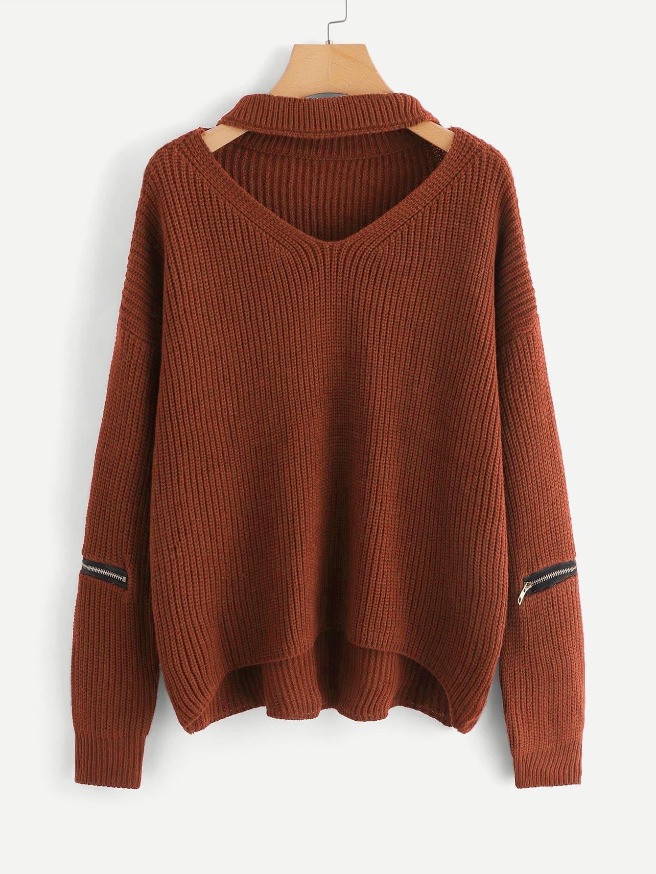 Фото - Размера плюс свитер с V-образным вырезом и застёжкой молния от SheIn цвет коричневые