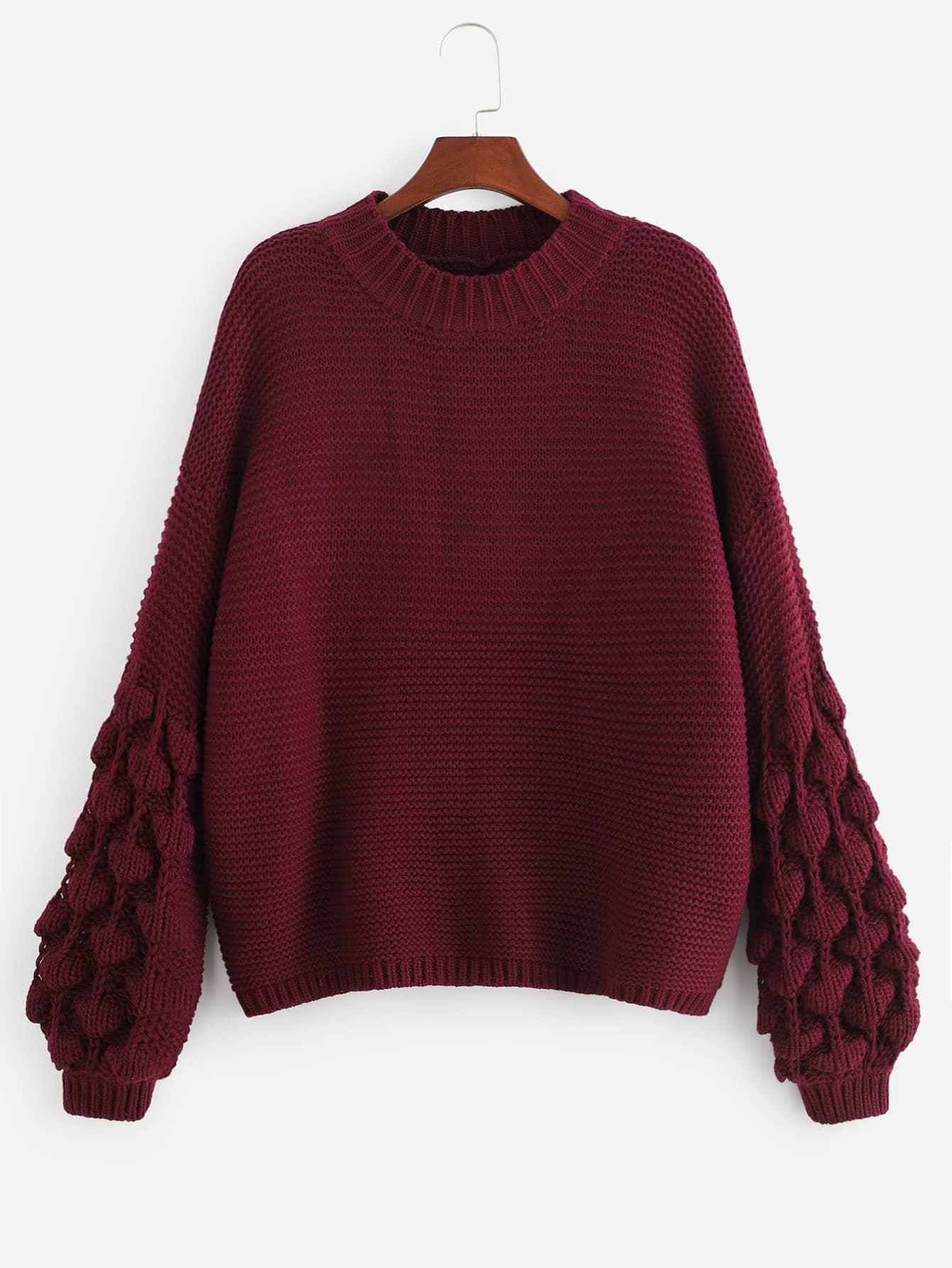Фото - Размера плюс однотонный свитер с рукав-фонариками от SheIn цвет бургундия
