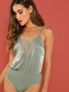 Lace Trim Satin Bodysuit