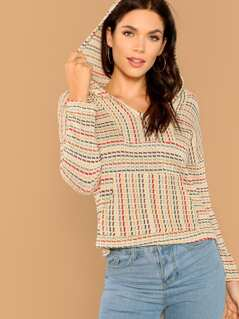 Striped Knit Hooded Pullover Sweater