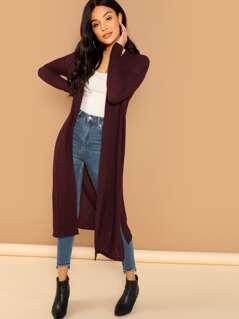 Open Front Slit Side Longline Coat
