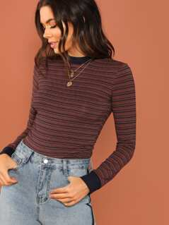 Mock Neck Contrast Trim Striped Tee