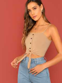Button Up Front Knot Cami Top
