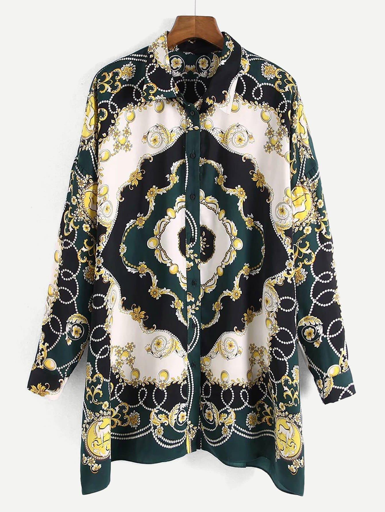 Фото - Блузу с принтом барокко от SheIn цвет многоцветный