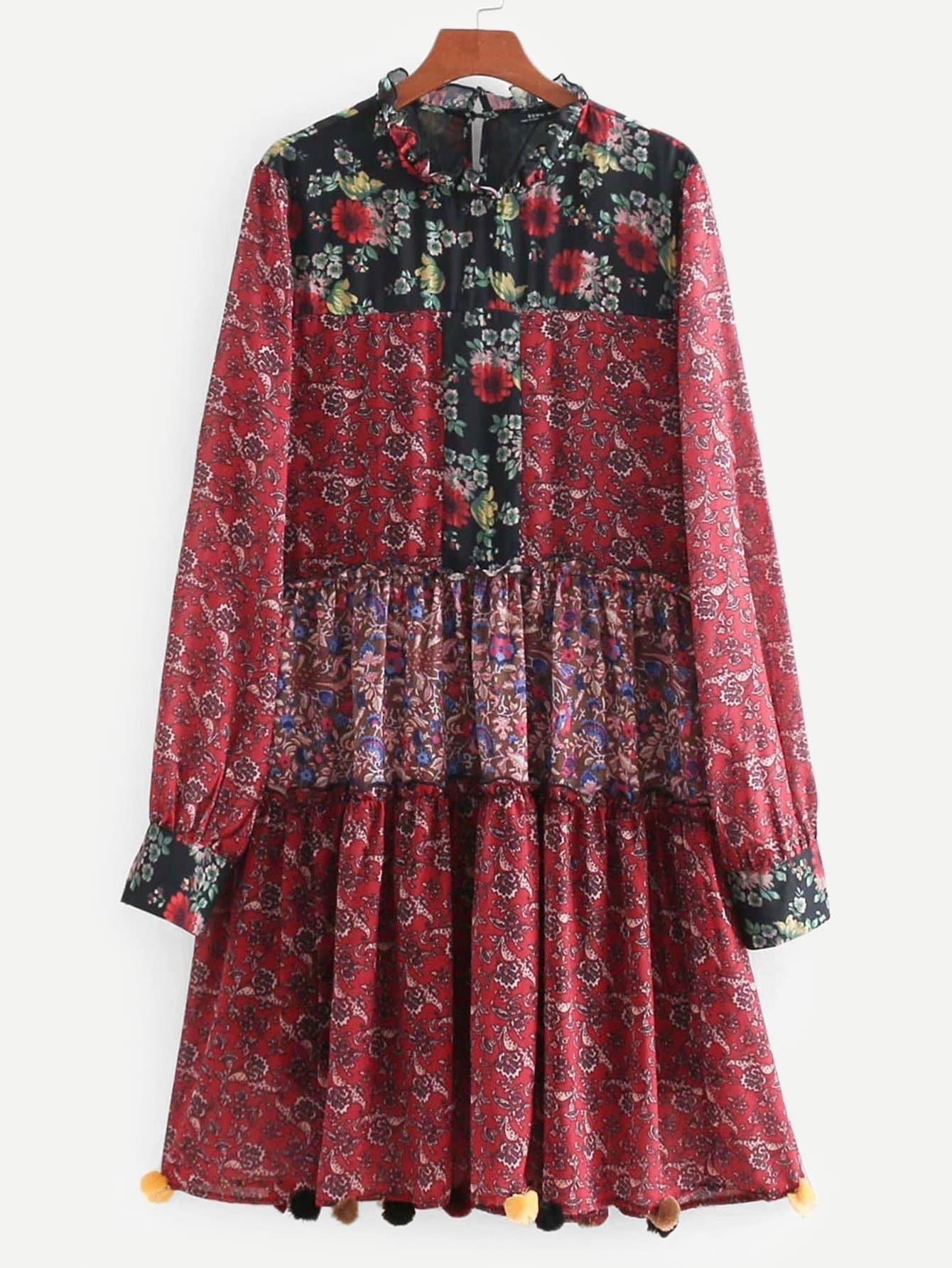 Фото - Платье с помпоном и принтом цветочным от SheIn цвет красные