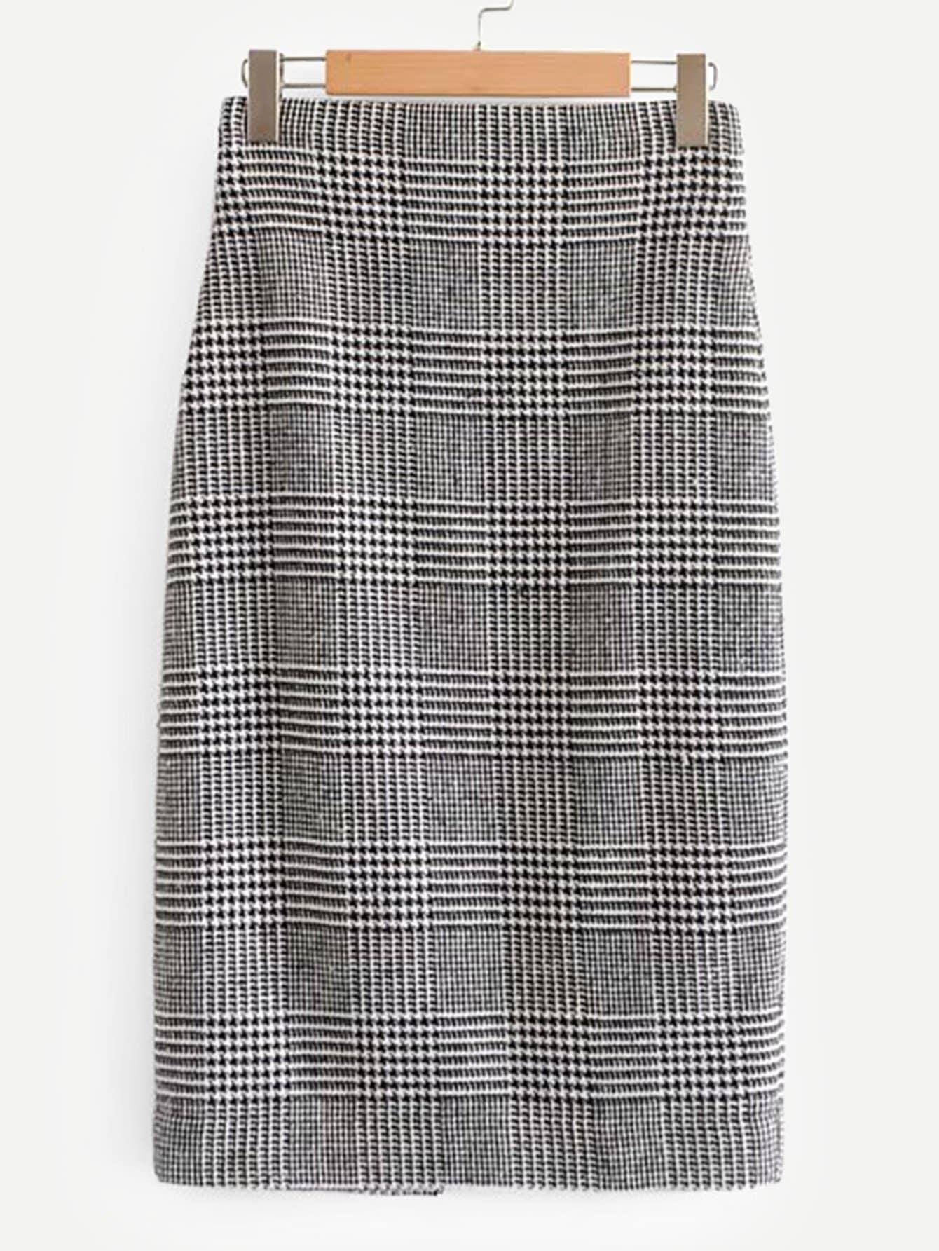 Фото - Твидовая юбка в клетку с вырезом от SheIn серого цвета