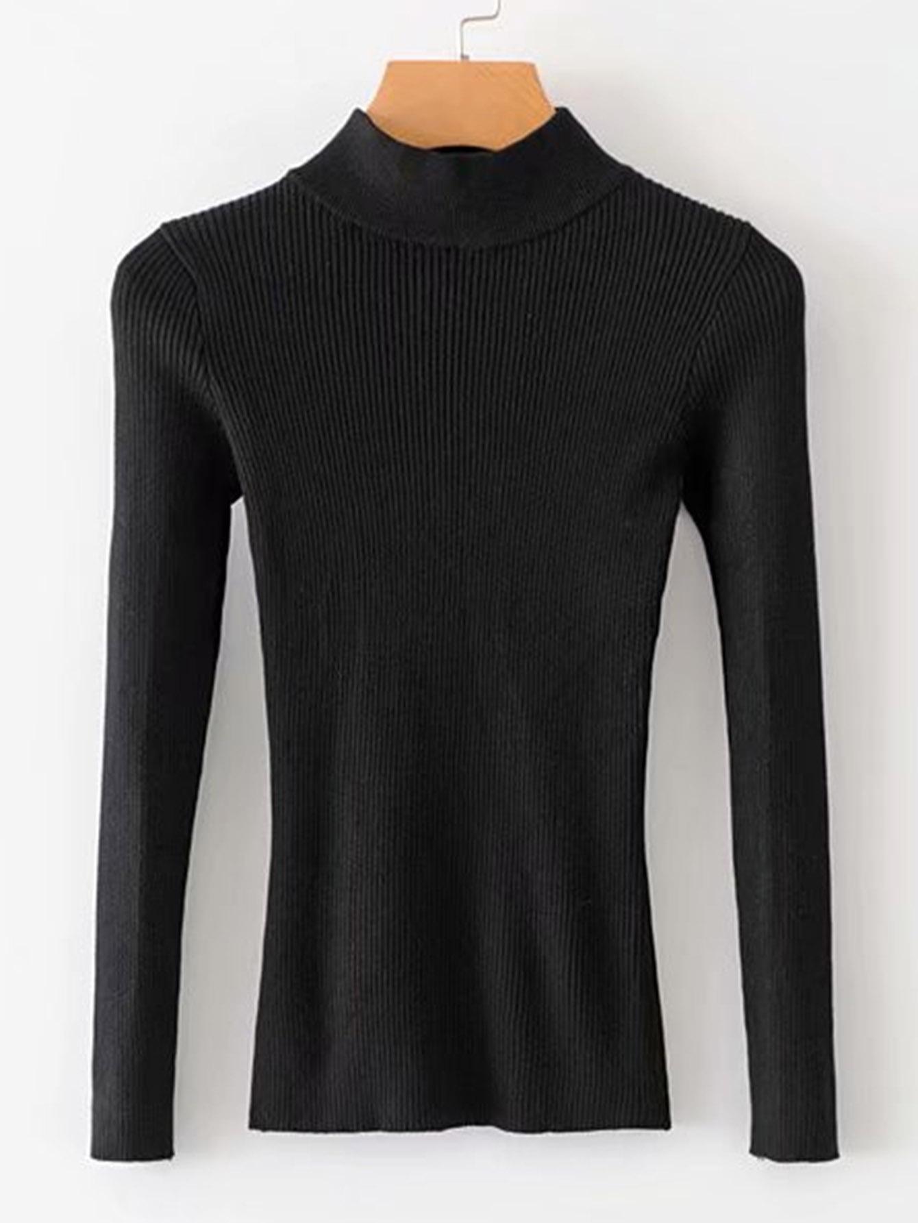 Фото - Однотонный свитер с рельефной вязаной отделкой от SheIn черного цвета