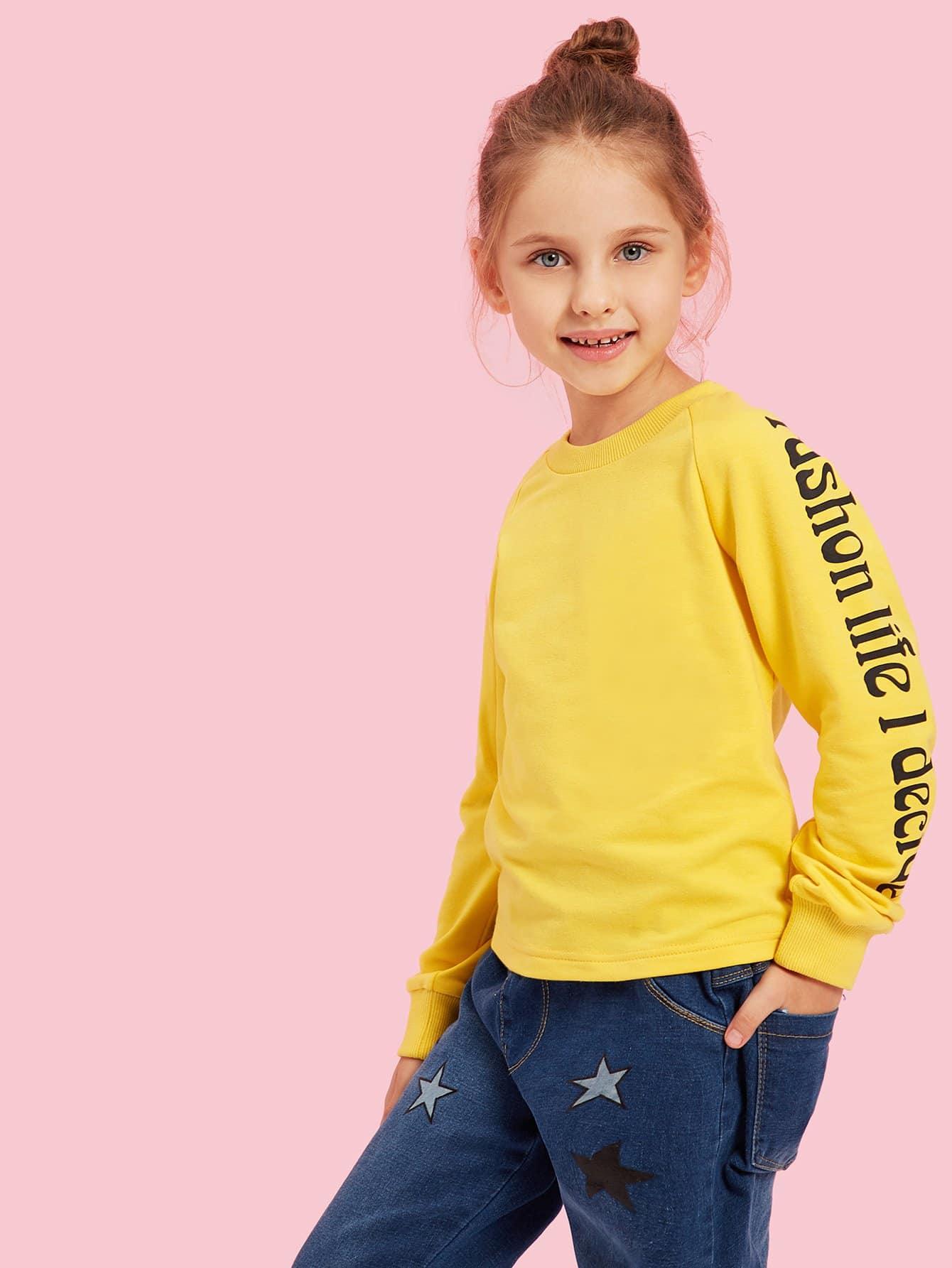 Фото - Футболку с рукав-регланами и принтом текстовым для девочек от SheIn цвет жёлтый