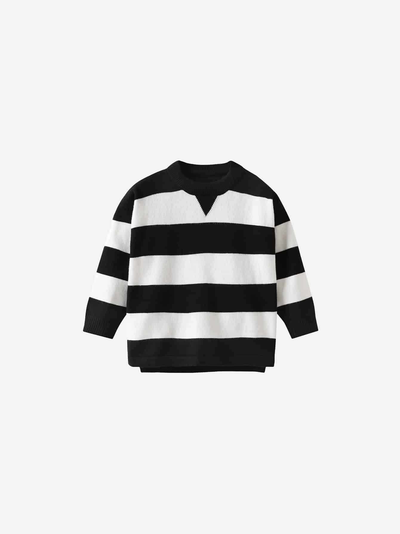 Купить Полосатый свитер с вырезом для маленьких мальчиков, null, SheIn