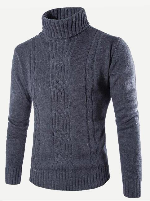 Фото - Мужский вязаный однотонный свитер с выоским воротником от SheIn серого цвета