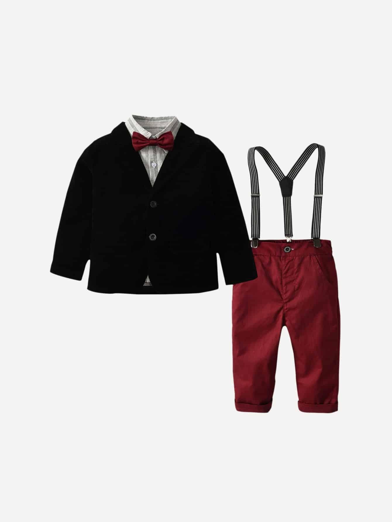 Фото - Однотонная куртка и полосатая футболка с воротник-бантом и комбинезон для маленьких мальчиков от SheIn цвет многоцветный