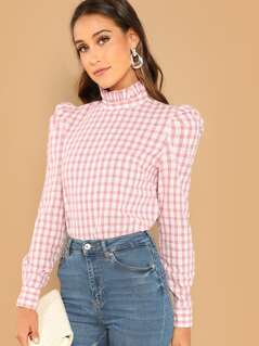 Frill Neck Puff Sleeve Gingham Top