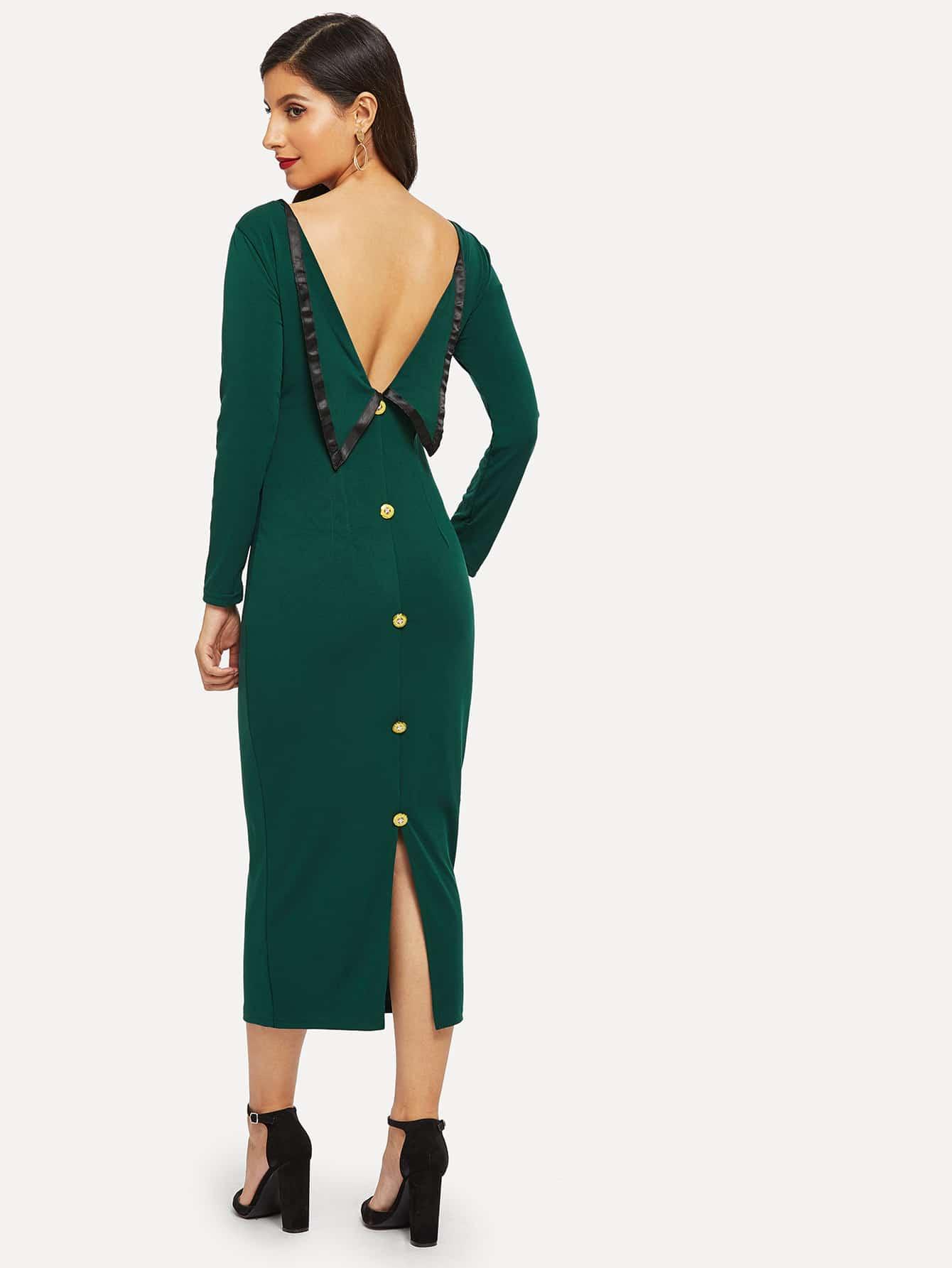 Купить Платье с пуговицами с открытой спиной, Jeane, SheIn