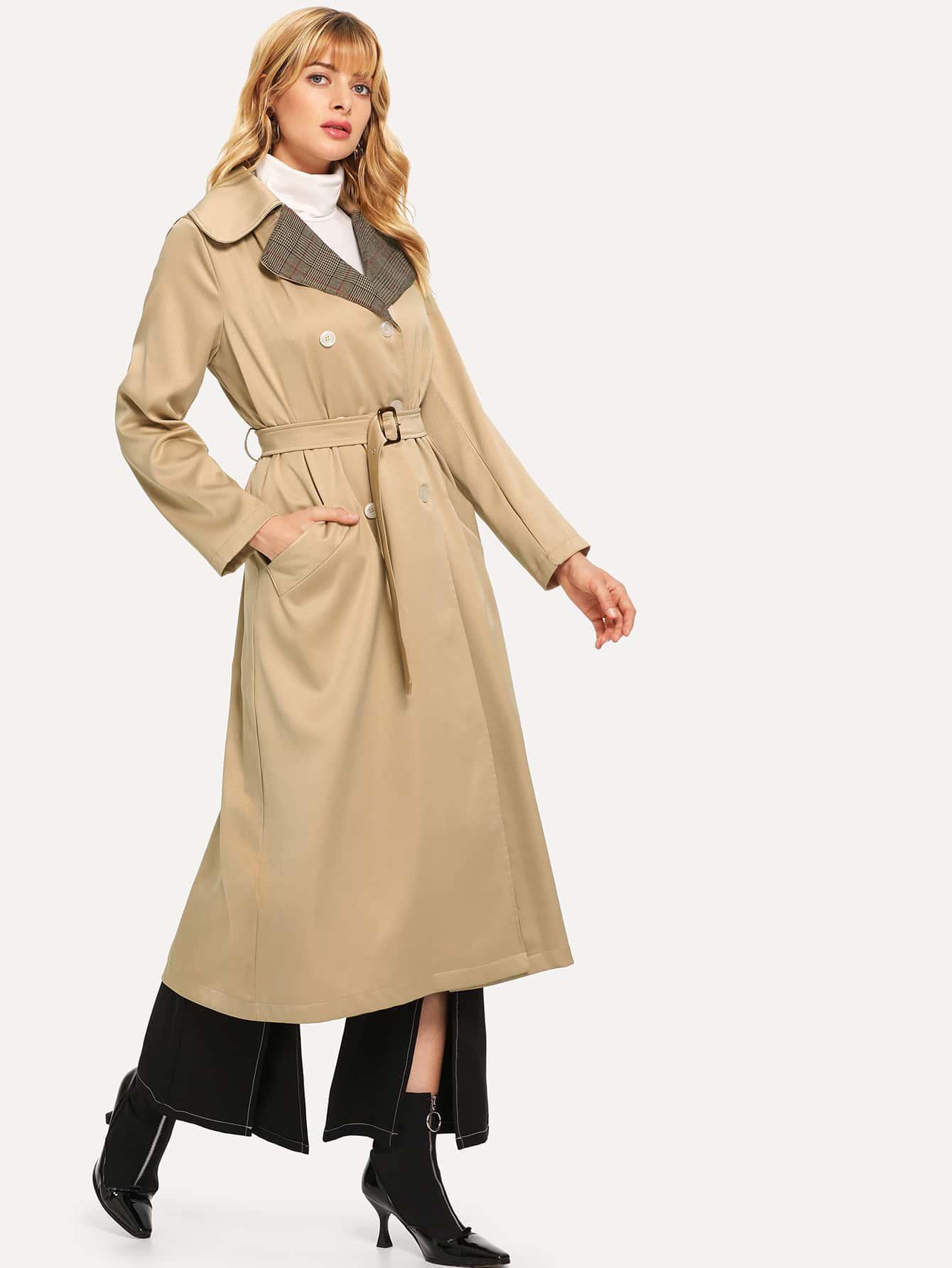 Двубортное пальто с поясом SheIn
