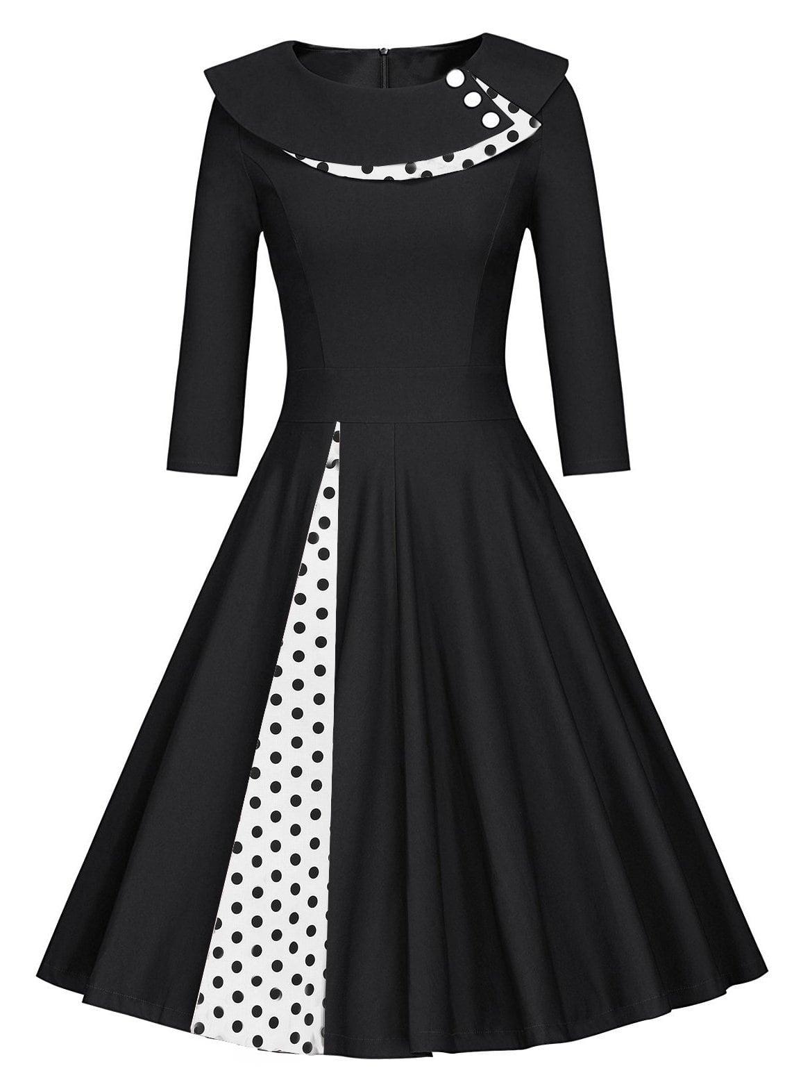 Купить 50s платье клёш в горошек с украшением пуговицы, null, SheIn