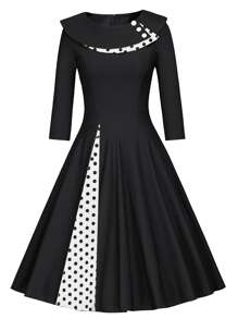 50s Polka Dot Button Decoration Flare Dress