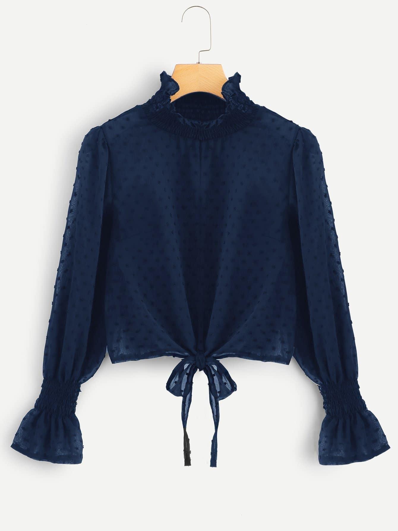 Фото - Однотонная блуза со стоячим воротником от SheIn цвет темно синий