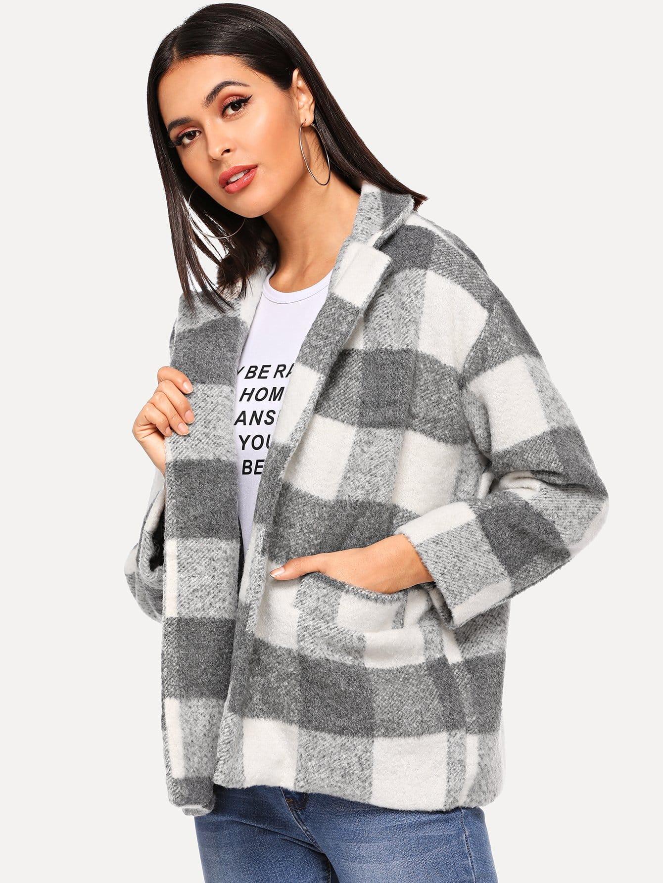 Купить Однобортное твидовое пальто в клетку, Verob, SheIn