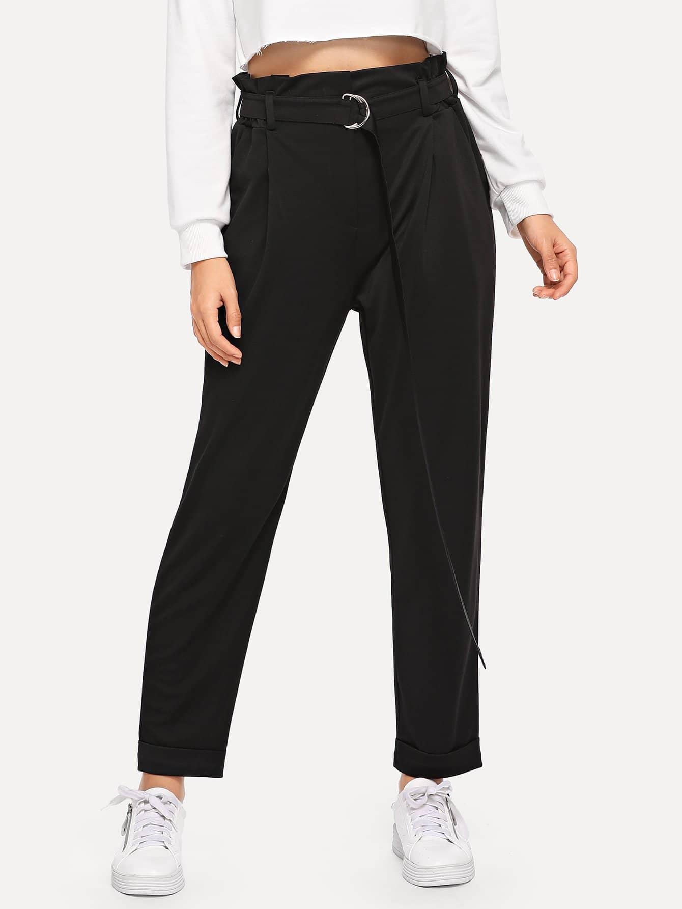 Фото - Одноцветные брюки с завязкой на талии от SheIn черного цвета