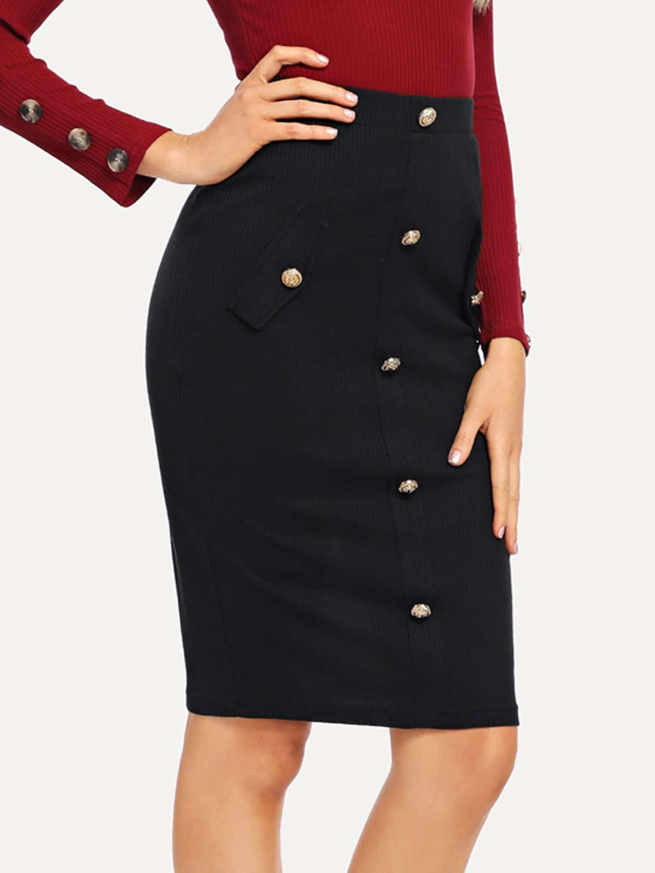 Купить Вязаная юбка с рельефными узорами и украшением пуговицы, Sasa, SheIn