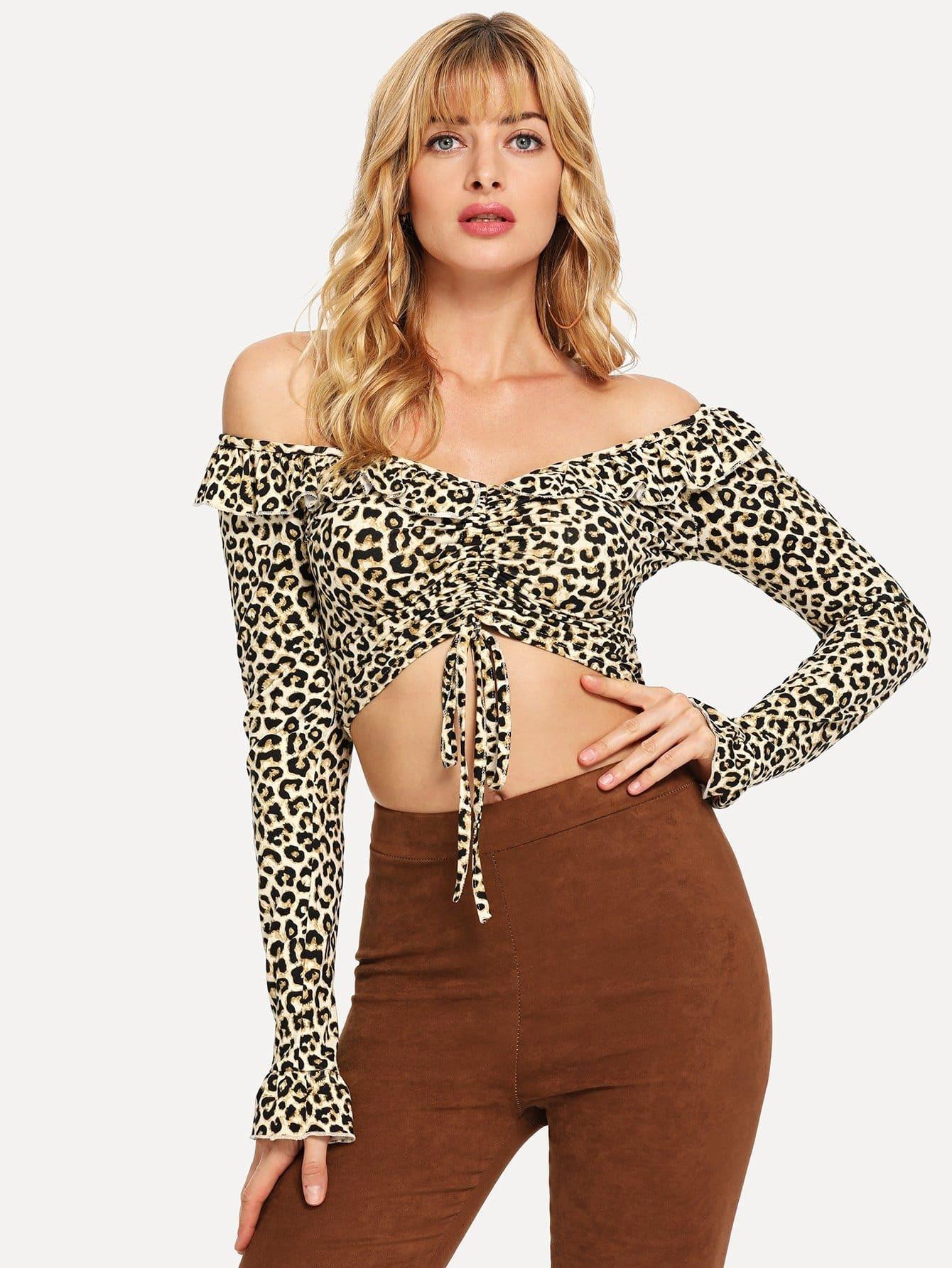 Купить Леопардовая короткая футболка с открытыми плечами, Masha, SheIn
