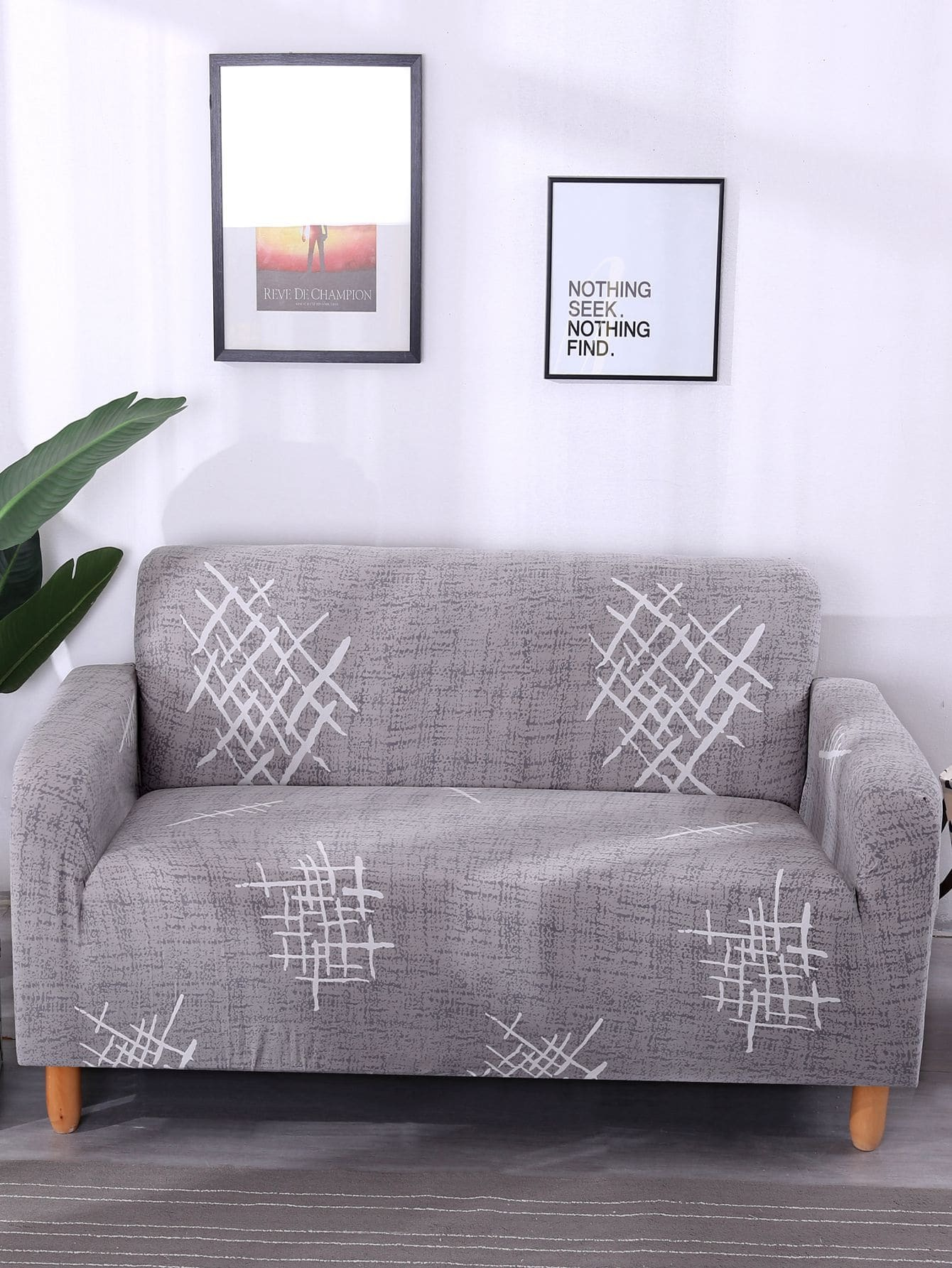 Купить Эластичный чехол для дивана с принтом графическим и чехол для подушки 1 шт, null, SheIn