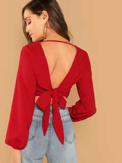 Knot V-Back Wrap Top