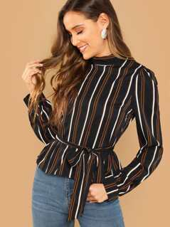 Mock Neck Belted Striped Top