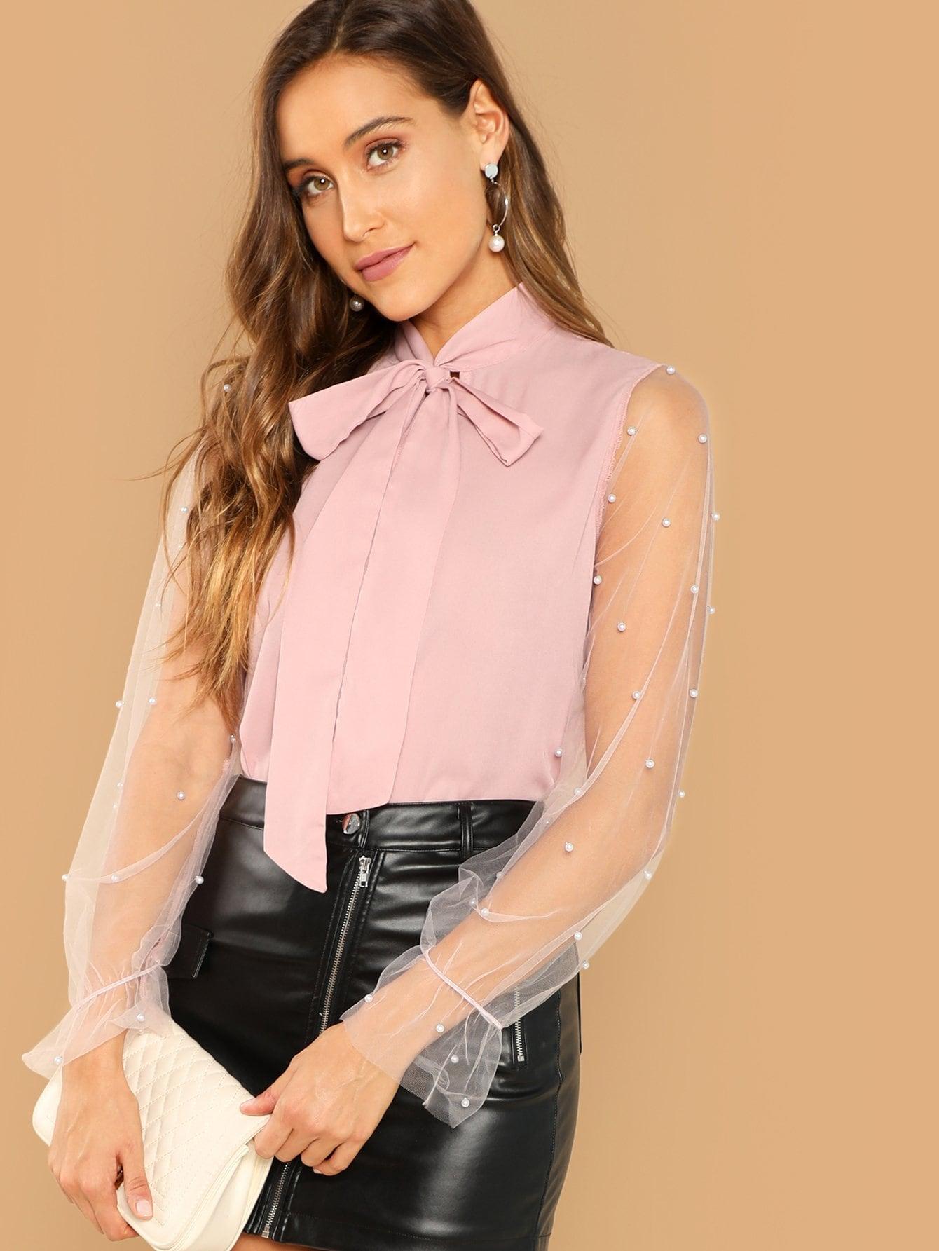 Купить Сетчатая блуза с воротник-бантом и рукав с украшением жемчугов, Anna Herrin, SheIn