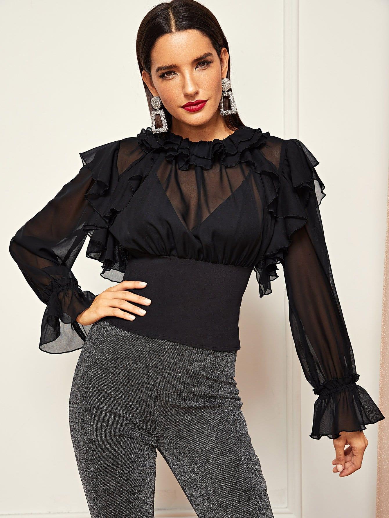 Купить Прозрачная сетчатая блузка с оборками, Juliana, SheIn