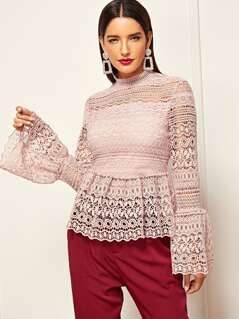 Zip Back Lace Bell Sleeve Top