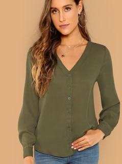 Button Through Curved Hem Blouse