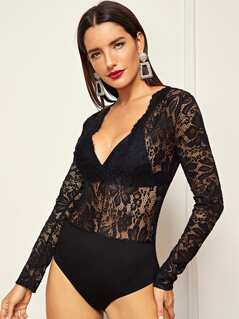Plunging Neck Floral Lace Bodysuit Without Bralette