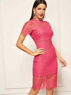 Neon Pink Lace Mock Neck Bodycon Dress