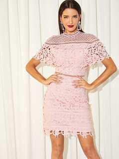 Mock Neck Guipure Lace Cape Dress