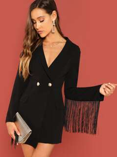 Single Button Fringe Trim Notched Coat
