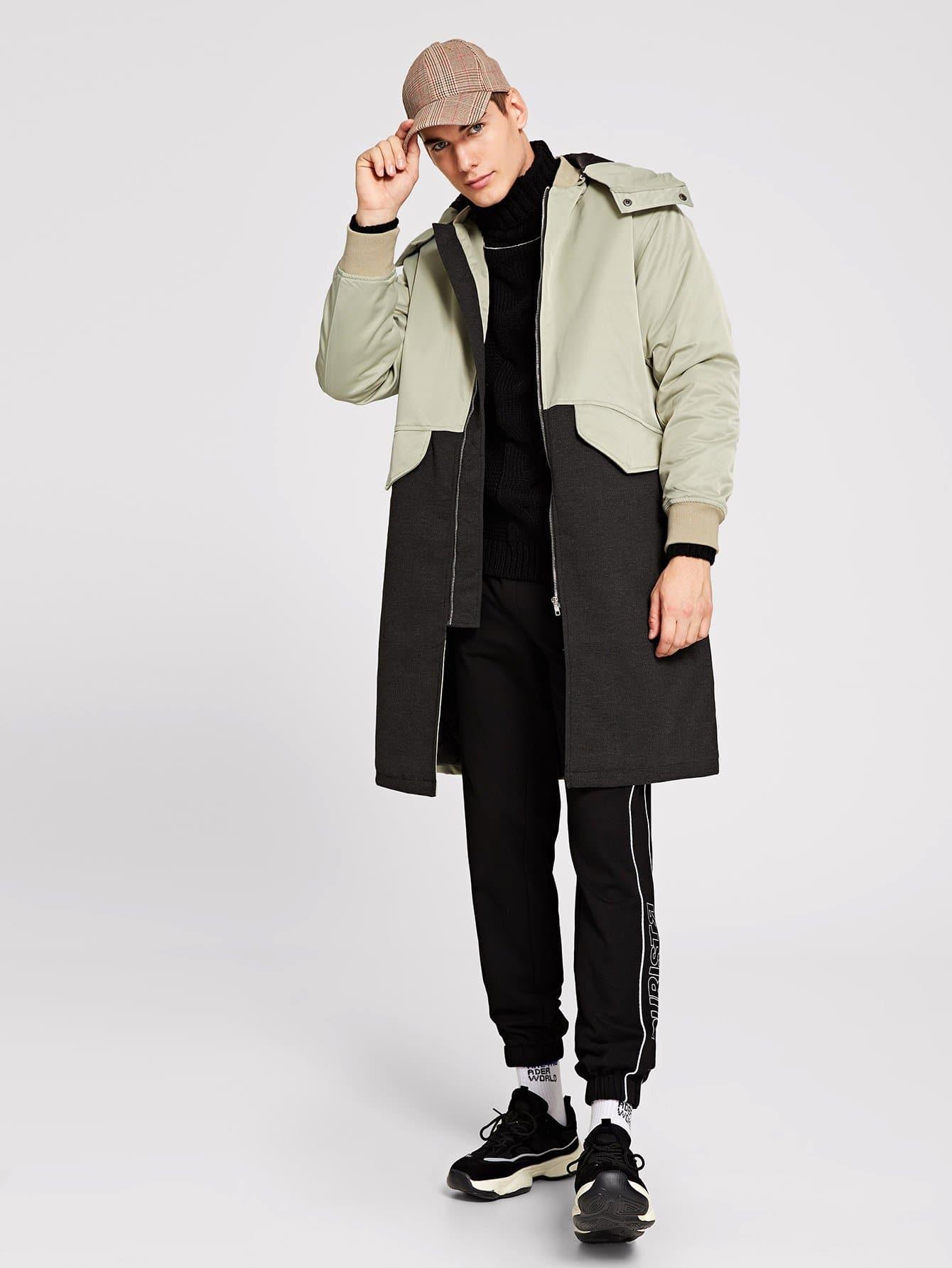 Купить Контрастное пальто с застёжкой молния для мужчины, Misha, SheIn