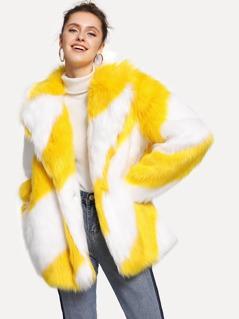 Pocket Side Faux Fur Coat