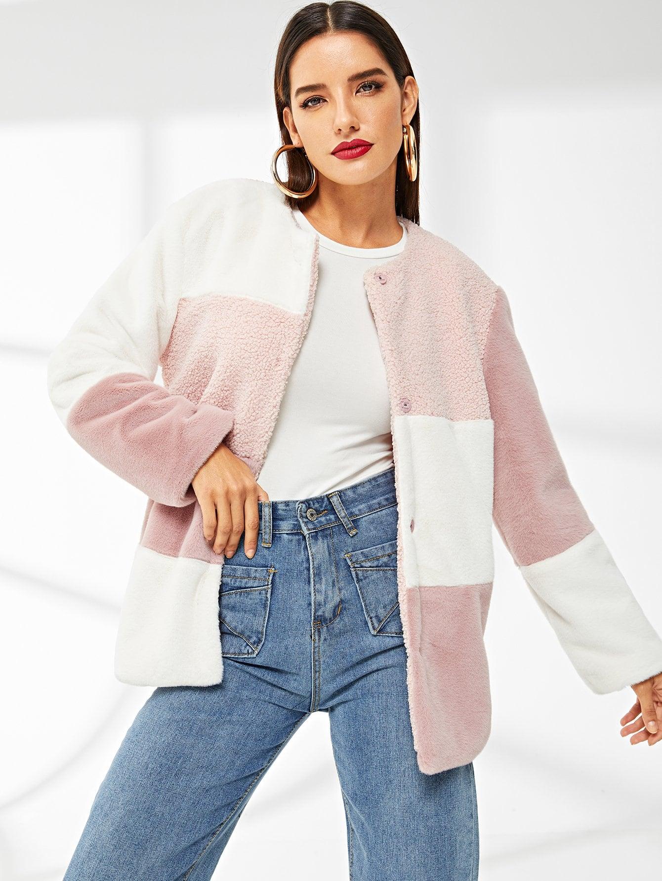 Купить Кроить и шить пальто из искусственного меха, Juliana, SheIn