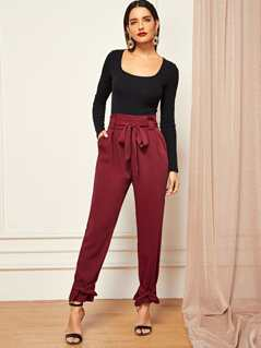 Waist Belted Knot Pleated Pants