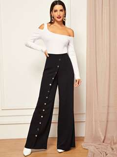 Snap Button Front Wide Leg Pants