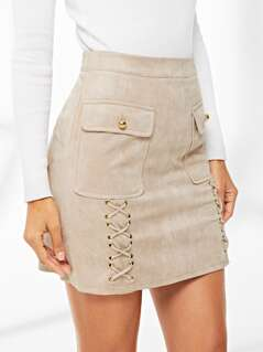 Dual Flap Pocket Grommet Crisscross Suede Skirt