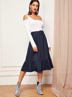 Self Adjustable Belted Ruffle Hem Skirt