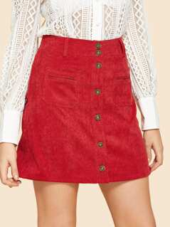 Pocket Front Buttoned Skirt