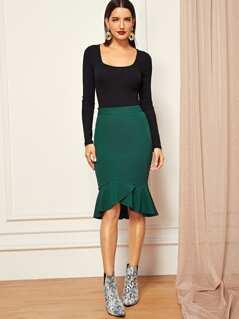Wide Waistband Fishtail Hem Skirt