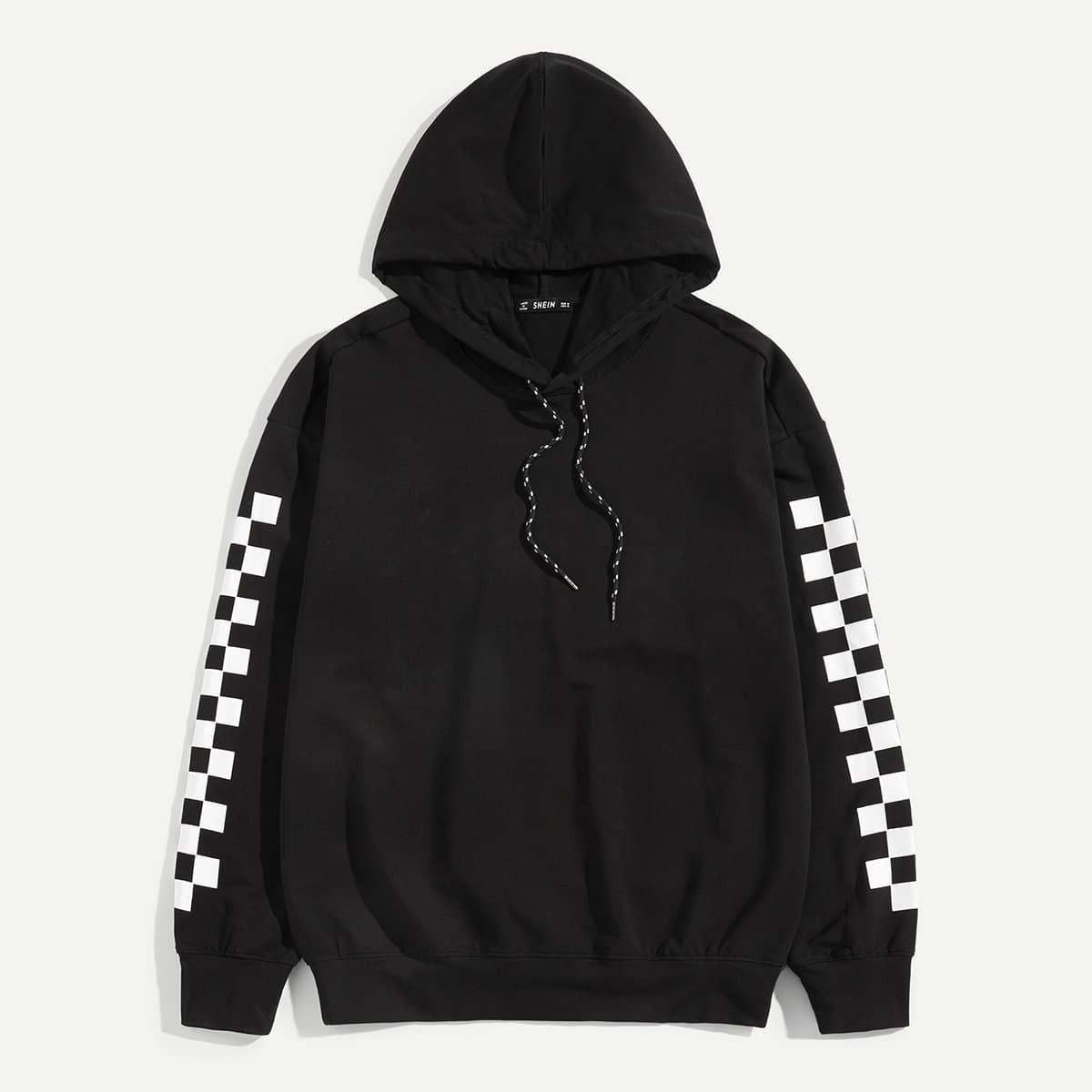 Zwart Casual Koord Gingham Sweatshirts voor heren