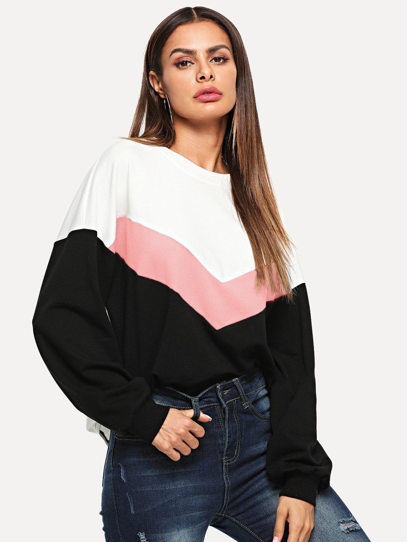 Купить Контрастный туника пуловер, Andy, SheIn