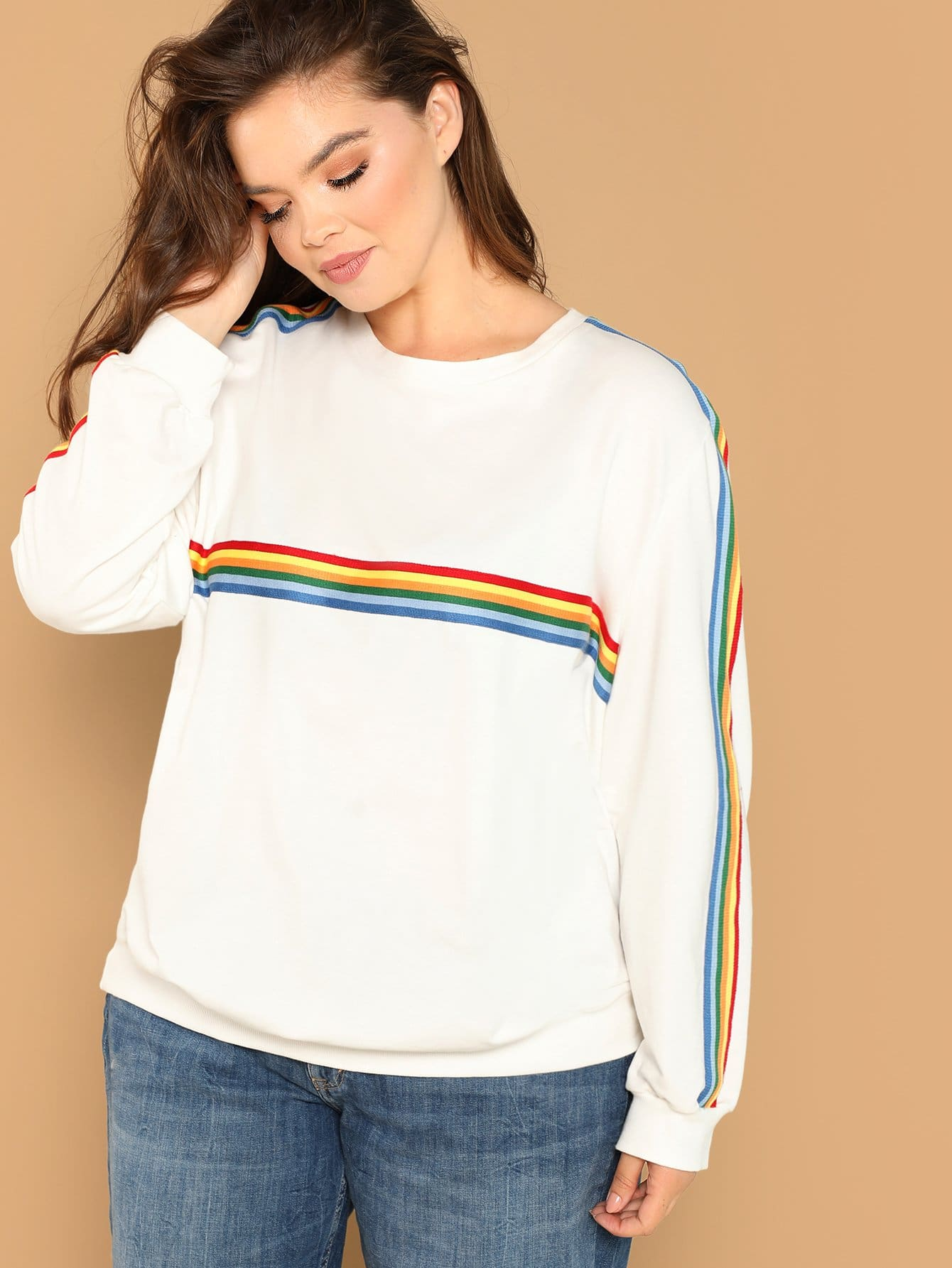 eda7fecce1c Plus Contrast Rainbow Striped Pullover