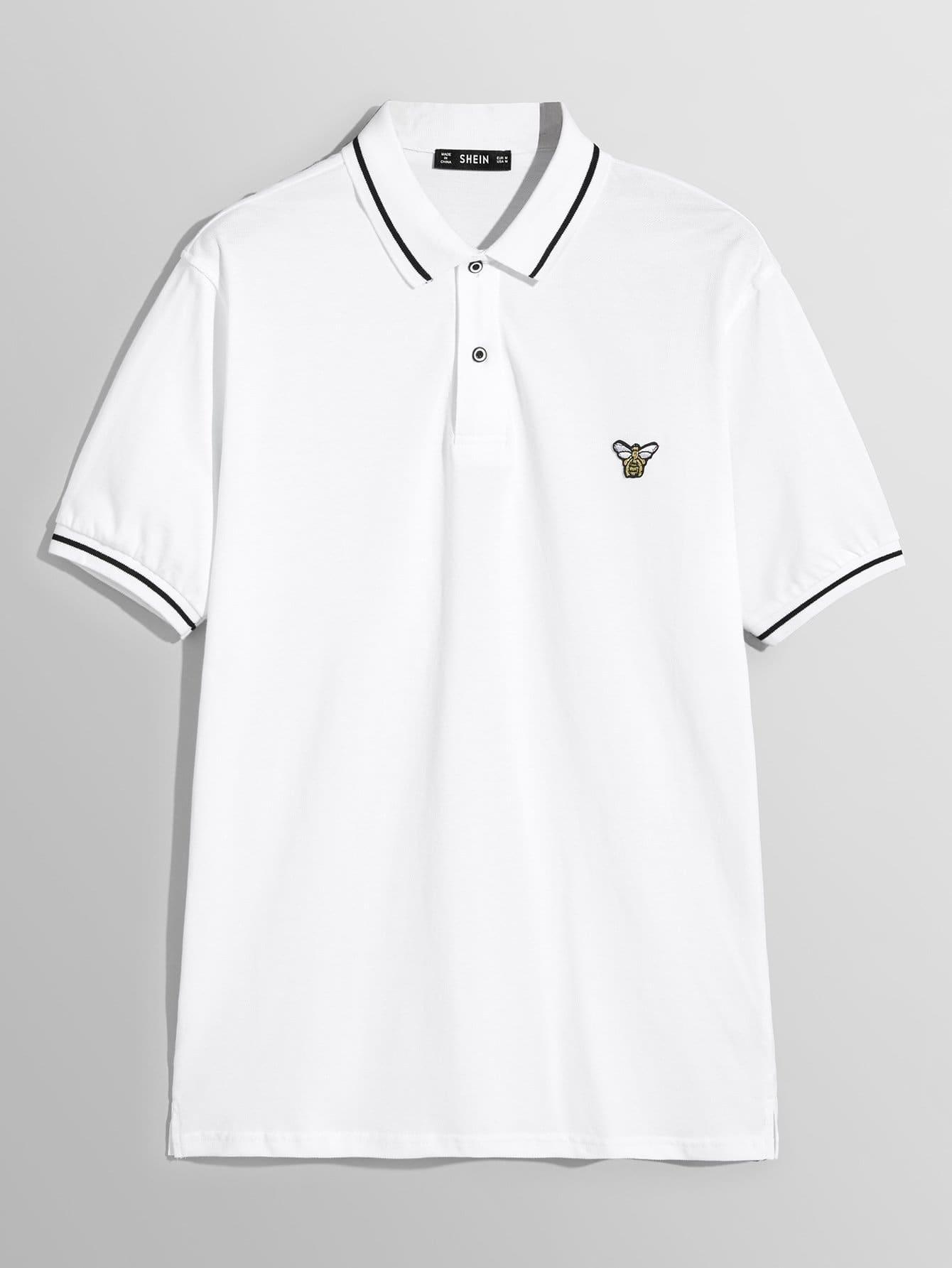 Купить Для мужчин футболка с полоской отделкой, null, SheIn